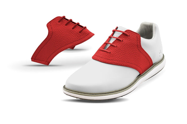 Women's Red Pebble Saddles On White Golf Shoe From Jack Grace USA