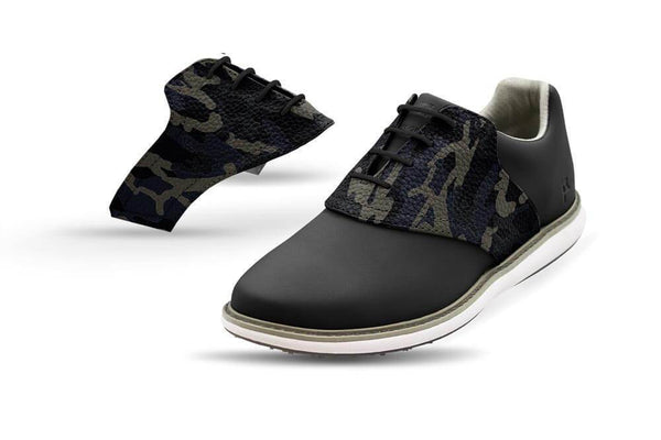Women's Shadow Camo Saddles On Black Golf Shoe From Jack Grace USA