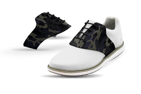 Women's Shadow Camo Saddles On White Golf Shoe From Jack Grace USA