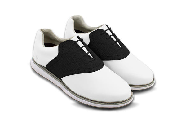 Women's Shoe Black 45 Degree Angle On White Golf Shoe From Jack Grace USA