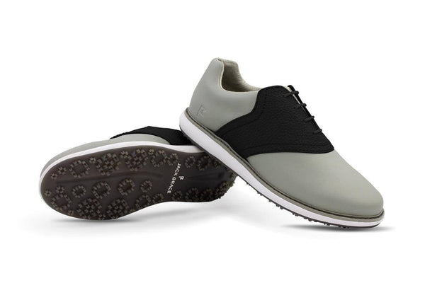 Women's Shoe Black Crisscross Angle On Grey Golf Shoe From Jack Grace USA