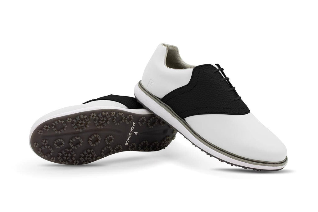 Women's Shoe Black Crisscross Angle On White Golf Shoe From Jack Grace USA