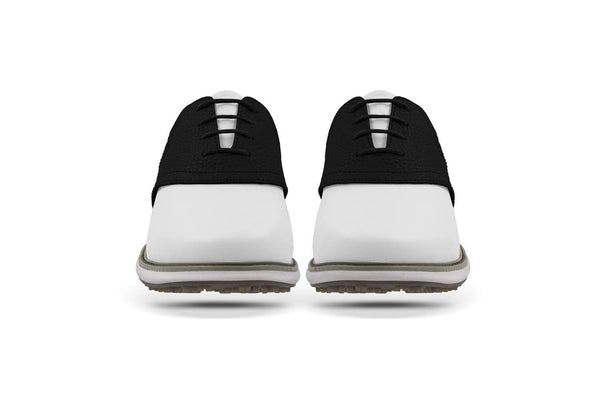 Women's Shoe Black Front Angle On White Golf Shoe From Jack Grace USA