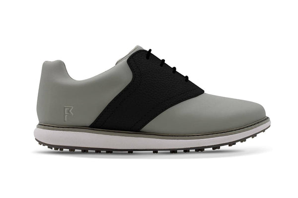Women's Shoe Black Side Angle On Grey Golf Shoe From Jack Grace USA