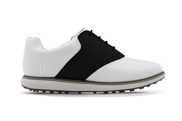 Women's Shoe Black Side Angle On White Golf Shoe From Jack Grace USA