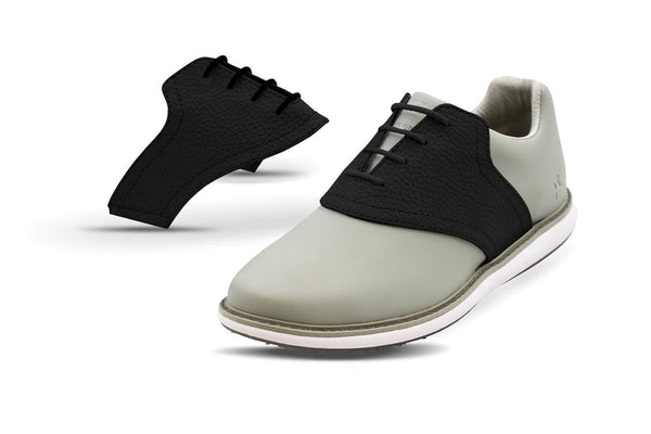 Women's Shoe Black Side By Side Angle On Grey Golf Shoe From Jack Grace USA