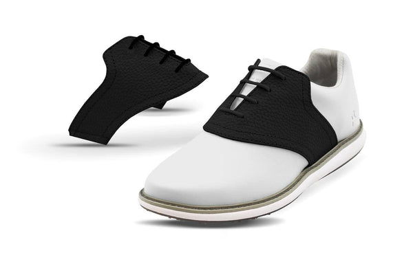 Women's Shoe Black Side By Side Angle On White Golf Shoe From Jack Grace USA