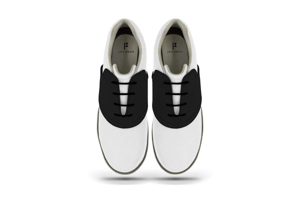 Women's Shoe Black Top Angle On White Golf Shoe From Jack Grace USA