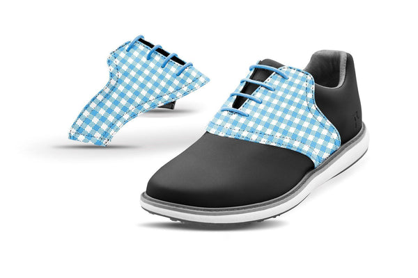 Women's Sky Blue Gingham Saddles On Black Golf Shoe From Jack Grace USA