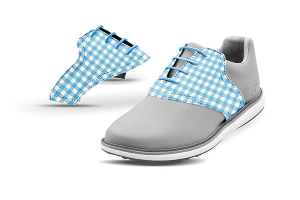 Women's Sky Blue Gingham Saddles On Grey Golf Shoe From Jack Grace USA