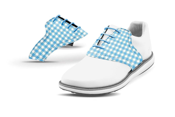 Women's Sky Blue Gingham Saddles On White Golf Shoe From Jack Grace USA