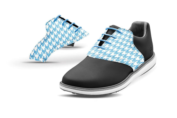 Women's Houndstooth Sky Blue Saddles On Black Golf Shoe From Jack Grace USA