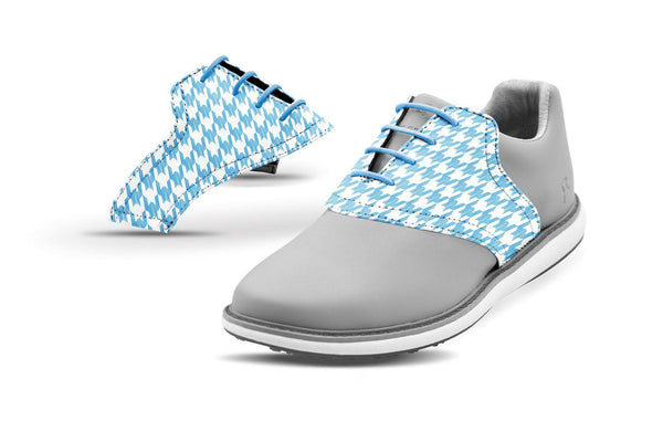 Women's Houndstooth Sky Blue Saddles On Grey Golf Shoe From Jack Grace USA