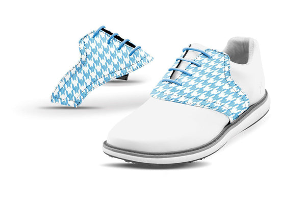 Women's Houndstooth Sky Blue Saddles On Whtie Golf Shoe From Jack Grace USA