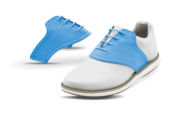 Women's Sky Blue Pebble Saddles On White Golf Shoe From Jack Grace USA