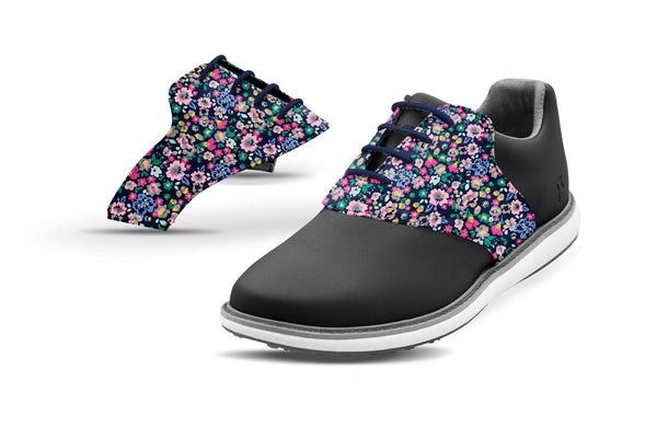 Women's Small Floral Print Saddles On Black Shoe From Jack Grace USA