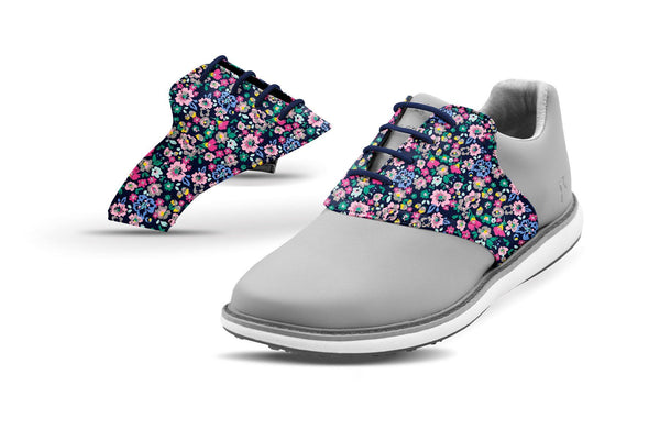 Women's Small Floral Print Saddles On Grey Shoe From Jack Grace USA