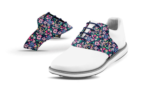 Women's Small Floral Print Saddles On White Shoe From Jack Grace USA