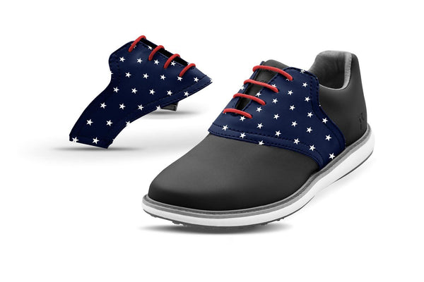 Women's Stars Saddles On Black Golf Shoe From Jack Grace USA