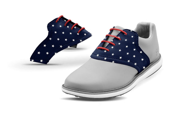 Women's Stars Saddles On Grey Golf Shoe From Jack Grace USA