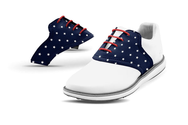 Women's Stars Saddles On White Golf Shoe From Jack Grace USA