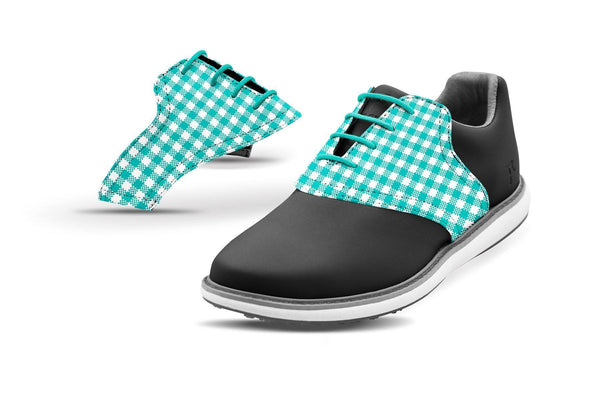 Women's Teal Gingham Saddles On Black Golf Shoe From Jack Grace USA