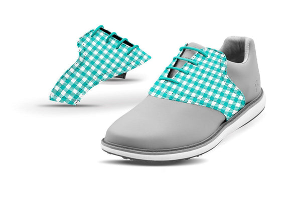 Women's Teal Gingham Saddles On Grey Golf Shoe From Jack Grace USA