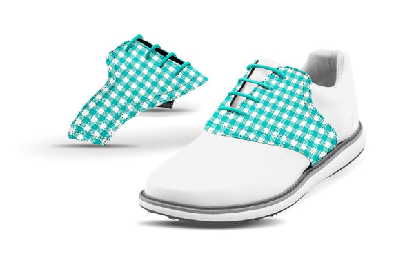 Women's Teal Gingham Saddles On White Golf Shoe From Jack Grace USA