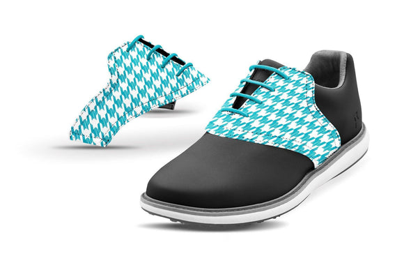 Women's Houndstooth Turquoise Saddles On Black Golf Shoe From Jack Grace USA