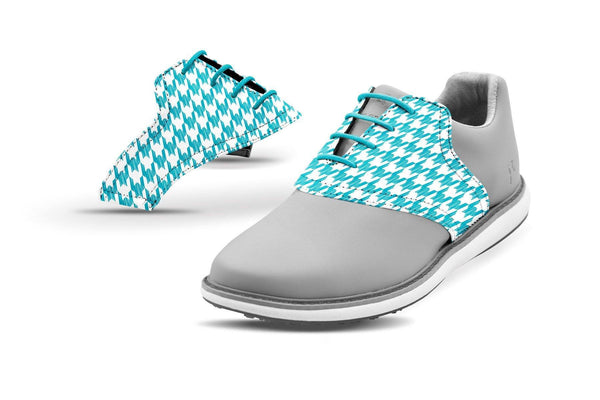 Women's Houndstooth Turquoise Saddles On Grey Golf Shoe From Jack Grace USA