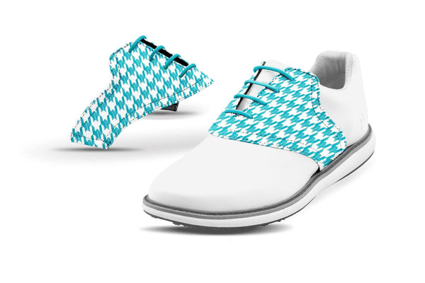 Women's Houndstooth Turquoise Saddles On White Golf Shoe From Jack Grace USA