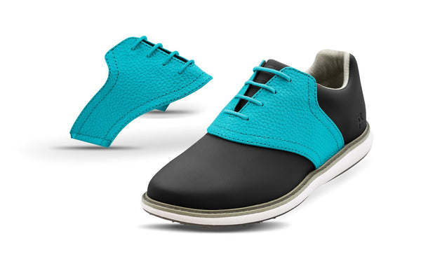 Women's Turquoise Pebble Saddles On Black Golf Shoe From Jack Grace USA