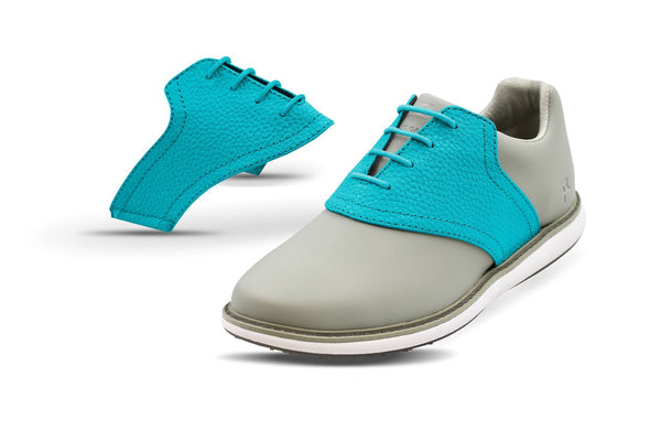Women's Turquoise Pebble Saddles On Grey Golf Shoe From Jack Grace USA