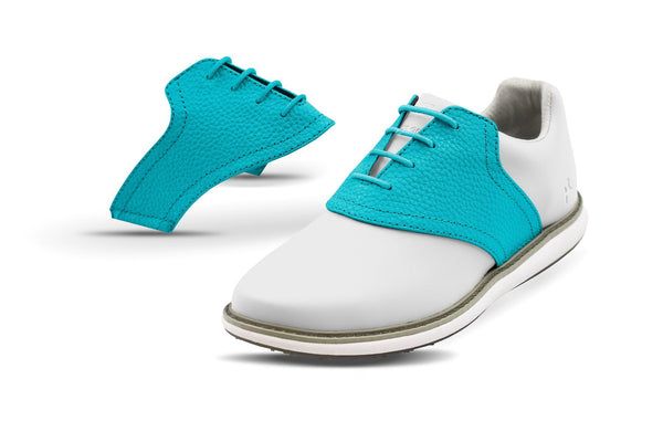 Women's Turquoise Pebble Saddles On White Golf Shoe From Jack Grace USA