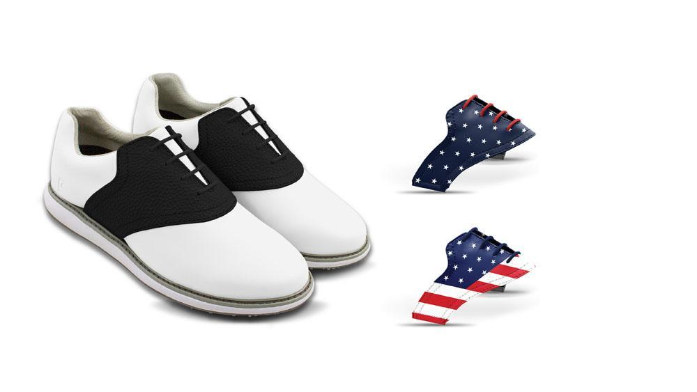 Womens USA 2 Bundle Saddles On White Golf Shoe From Jack Grace USA