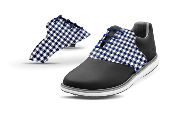Women's USA Blue Gingham Saddles On Black Golf Shoe From Jack Grace USA