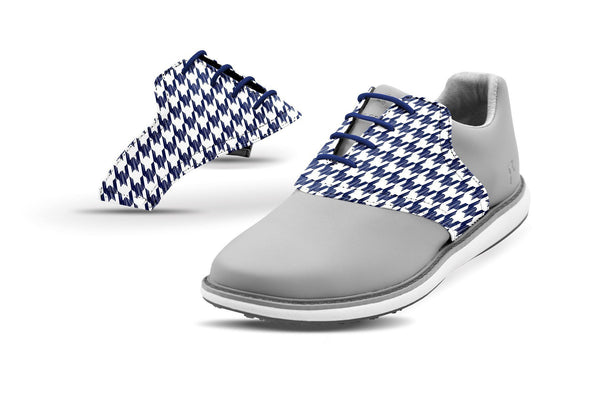 Women's Houndstooth USA Blue Saddles On Grey Golf Shoe From Jack Grace USA