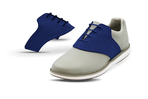 Women's USA Blue Pebble Saddles On Grey Golf Shoe From Jack Grace USA