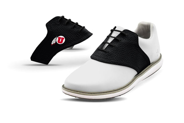 Women's Utah Black Saddles On White Golf Shoe From Jack Grace USA