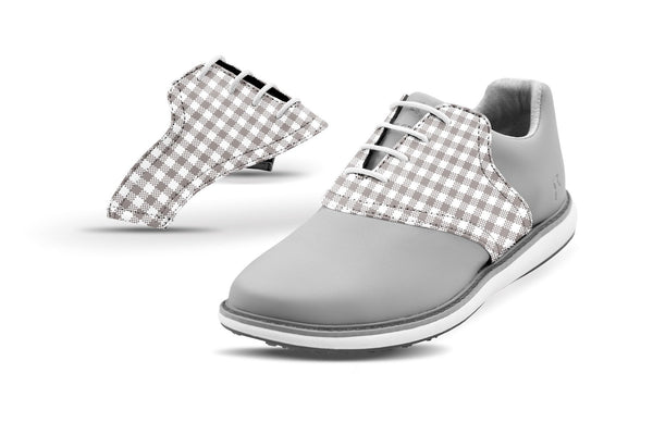 Women's White Gingham Saddles On Grey Golf Shoe From Jack Grace USA