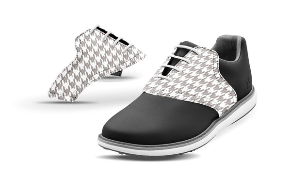Women's Houndstooth White Saddles On Black Golf Shoe From Jack Grace USA