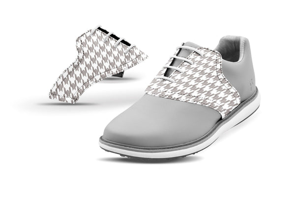 Women's Houndstooth White Saddles On Grey Golf Shoe From Jack Grace USA