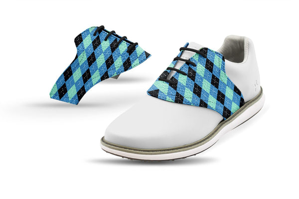 Women's Winter Argyle Saddles On White Golf Shoe From Jack Grace USA