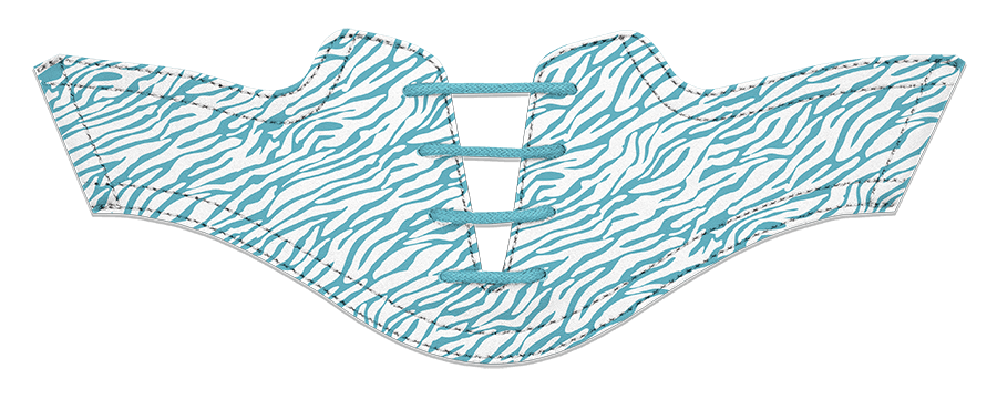 Women's Zebra Turquoise on White Saddles & Laces - DELIVERY SEPTEMBER 2018