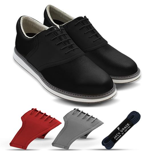 Black golf shoe starter bundle with red and grey additional saddles from Jack Grace USA