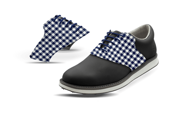 Men's Gingham USA Blue Saddles On Black Golf Shoe From Jack Grace USA