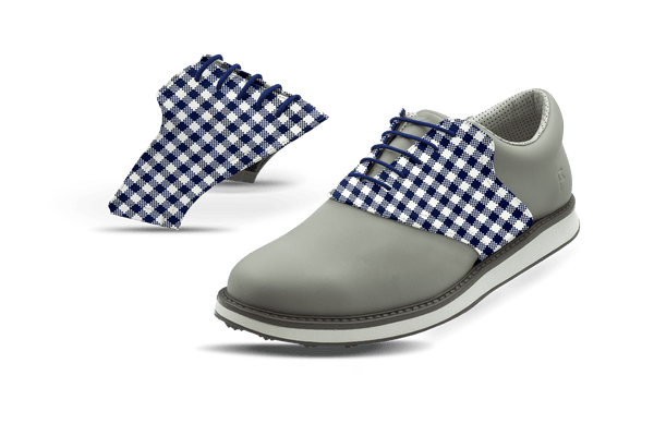 Men's Gingham USA Blue Saddles On Grey Golf Shoe From Jack Grace USA
