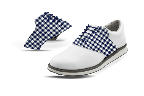 Men's Gingham USA Blue Saddles On White Golf Shoe From Jack Grace USA