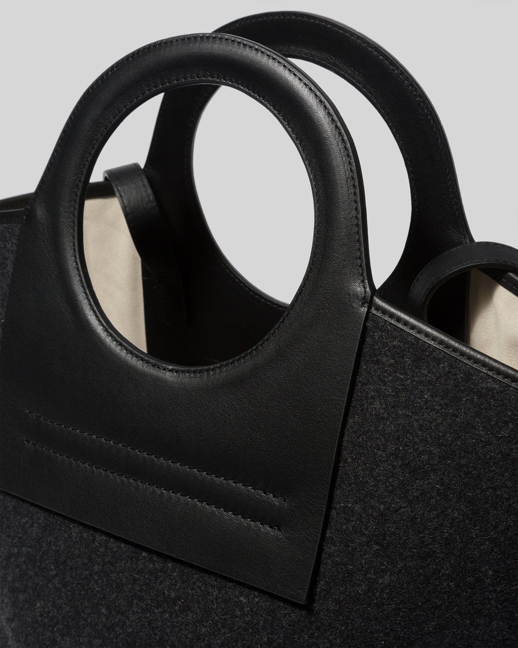 CALA - Large Leather-trimmed Felt Tote