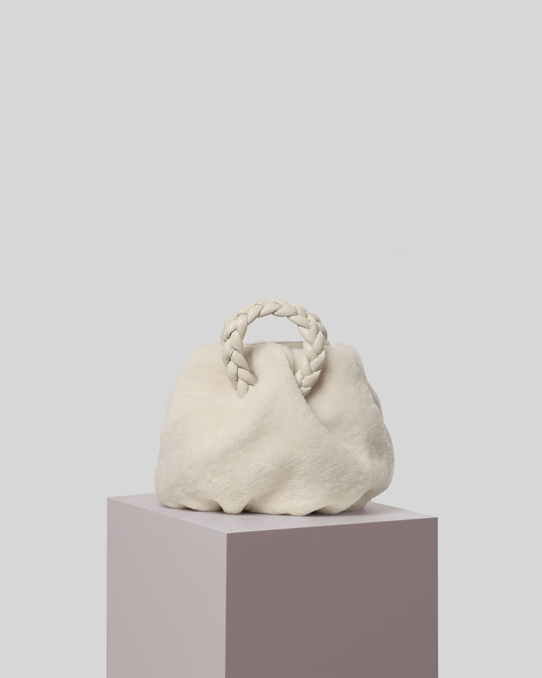 BOMBON - Small Plaited-handle Shearling Crossbody